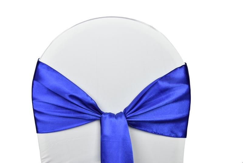 noeud satin bleu roi pour housses chaises
