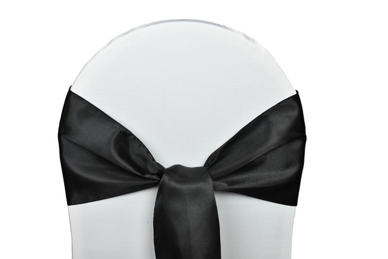 noeud satin noir pour housses chaises