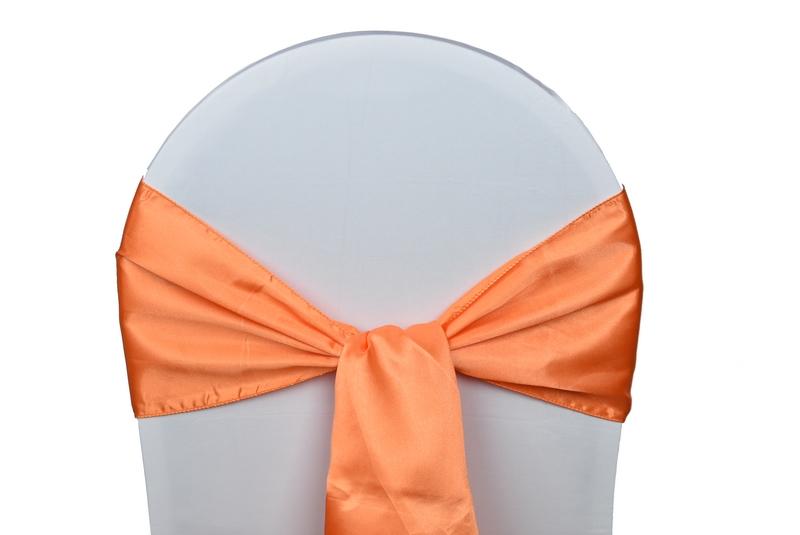 noeud satin orange pour housses chaises