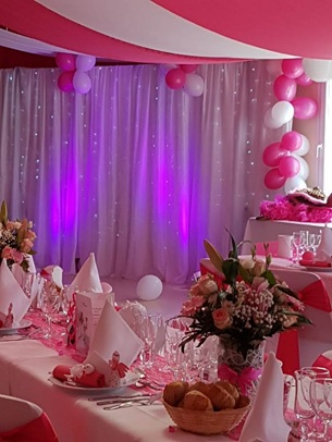decor salle theme fushia